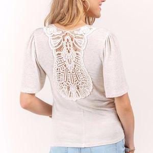 Francescas Melanie Crochet Back Tee Heather Oat
